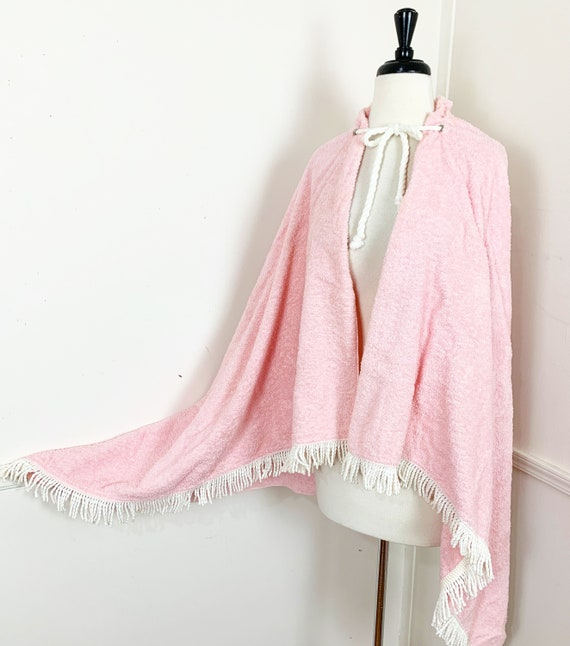 1950's Vintage Pink Terry Cloth Beach Cape with Fr
