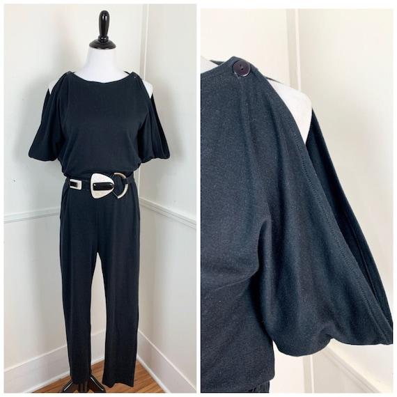 Curvy- 1980's Vintage Black Cold Shoulder Jumpsuit