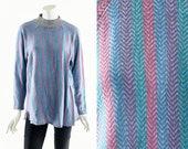 CHEVRON Knit Tee, Thin Knit Long Sleeve Shirt, Abstract Multicolor Shirt, 80s Shirt, 80s,Turtleneck, Raglan Shirt, Abstract Print, Hipster