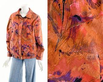 Watercolor Paint Bomber Jacket,Quilted Abstract Coat,Art Print Jacket,Zip UP FAll Coat,Bright Windbreaker,Vintage Track Jacket,80s 90s Coat