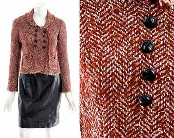 Red Herringbone Tweed Coat,Double Breasted Cropped Jacket,Raw Hem Tweed Jacket,Red Boucle Box Cardigan,Vintage 50s Inspired Coat,Peter Pan
