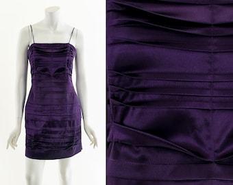 Purple Pleated Mini Dress,Y2K Pleated Princess Dress,Vintage Late 90s Club Dress,Clubkid Dress,Purple Mini Dress,Sexy Ruched Dress,Strappy