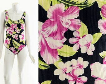 Coconut Girl Low Back Swimsuit,Vintage 80's Swimsuit,70's One Piece Swimsuit, Swimsuit,Tropical Hibiscus Onepiece,Vintage BathingSuit,Hawaii