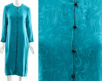 Silk Green Dress,Paisley Silk Dress,Button Down Duster,Vintage Silk Duster Jacket,70s Silk Dress,Midi Silk Dress,Minimalist Silk Button Down