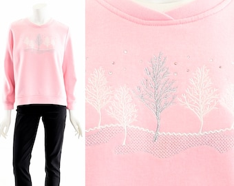 Baby Pink Sweatshirt,Rhinestone Winter Sweater,Winter Tree Landscape,Serene Snowy Night,Ugly Christmas Sweater,Festive Christmas Tree