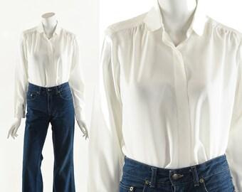 White French Blouse,Parisian Button Down Top,Jane Birkin Blouse,Jane Birkin Style,Vintage French Top,Curated Chic,Versatile Vintage,French