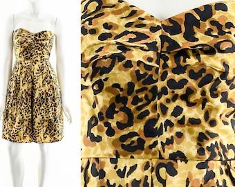 Leopard Cheetah Dress,90s Sweetheart Dress,90s Iconic Dress,Animal Print Silk Dress,Fit and Flare Dress,Tulle Layered Dress,Leopard Mini