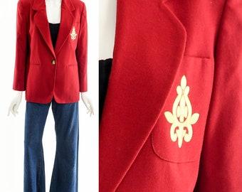 Red Ensignia Blazer,Preppy Red Blazer,Vintage Blazer Coat,Cranberry Red Jacket,Classic Dark Red Coat,Vintage Classic Coat,90s Blazer