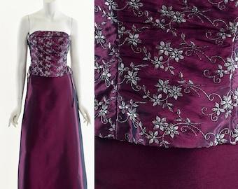 Y2K Purple Corset Dress,Bustier Corset Full Length Dress,Two Piece Dress,Lace Up Bodice Dress,Dark Purple Dress,Shimmering Metallic Dress,00
