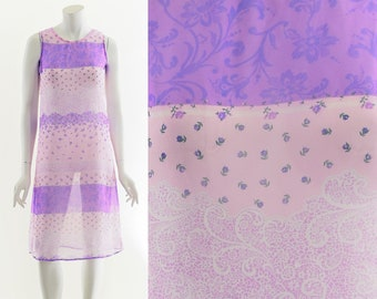 y2k floral dress,paisley flower dress,semi sheer dress,90s chiffon dress,purple flower dress,00's sheer dress,club kid raver dress,flower