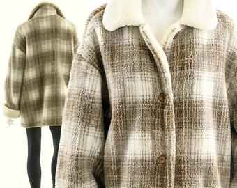 Checkered Teddy Coat,Vintage 90s Tartan Teddy Bear Jacket,Fuzzy Plaid Coat,Shag Coat Shacket ,Vintage Duster Coat,Fuzzy Winter Jacket,M L