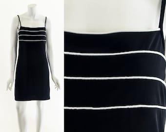 90s Spaghetti Strap Dress,Racer Stripe Black Dress,y2k black Dress,Sporty Club Dress,y2k princess dress,iconic late 90s style,sexy dress