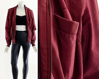 Dark Red Bomber Jacket,Vintage Unisex Bomber Coat,Members Only Style Jacket,80s Style Coat,90s Bomber Jacket,Best Bomber Jacket,MacGyver