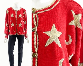 Celestial Star Sweater,Red Gold Cardigan Sweater,Moon and Stars Sweater,Hocus Pocus Sweater,Vintage Christmas Sweater,Ugly Christmas Jumper