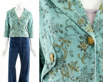 French Baroque Peplum Jacket,Floral Ornate Teal Jacket,Cropped Corduroy Coat,Late 90s Jacket,00s Y2K Jacket,Vintage Blazer Jacket,Beaded