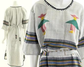 Rainbow People Bohemian Midi Dress,Handwoven People Dress,South American Gray Dress,Soft Knit Dress,Adjustable Midi Dress,Boho Hippie Dress