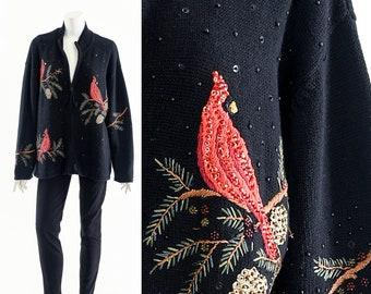 Ugly Christmas Sweater,Red Cardinal Sweater,Vintage Christmas Chardigan,Festive Holiday Jumper,Winter Wonderland,Santa Bear,Tacky Xmas Top