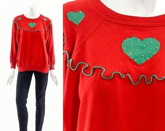 Christmas Frill Sweatshirt,Heart Patchwork Applique Sweater,Ugly Christmas Sweater,Handmade Christmas Sweater,Christmas Patchwork Shirt,
