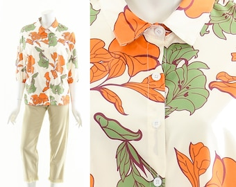 Trippy Tropical Blouse,Psychedelic Hibiscus Print Top,Peter Pan Colllar Blouse,Vintage Hawaiian Blouse,Coconut Girl Style Tik Tok,Balloon