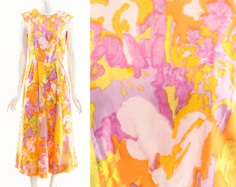 Bright Watercolor MaxiDress,60s Watercolor Art Print Dress,Wearable Art,Fit and Flared Dress,Bright Pink Yellow Formal Dress,Prom Evening