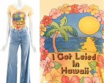 Vintage Hawaii Tshirt,I Got Leied in Hawaii Tee,Hawaii Lei Tee,Vintage Hawaiian Funny Tshirt,Travel Tourist Tee,Aloha Fun Top,Souvenir Shirt