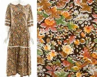 Fall Harvest Prairie Dress,Pilgrim Collar Dress,Brown Bohemian Dress,Balloon Sleeve Dress,Gunne Sax Style Dress,Victorian Inspired Dress