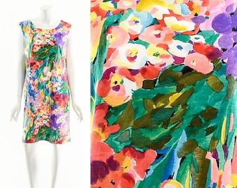 Rainbow Monet Dress,Water Lillies Shift Dress,Watercolor Floral Pencil Dress,Wearable Art Print Dress,Impressionist Painting Dress,Bright