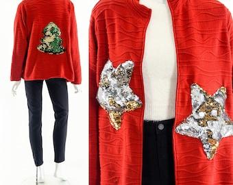 Ugly Christmas Sweater,Metallic Star Sweater,Tacky Christmas Sweatshirt,Festive Holiday Jumper,Star Sweater Cardigan,Santa Gifts, Sequins