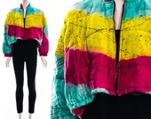 Winter jacket, puffer jacket, puffy jacket, ABSTRACT NEON Teal Yellow Magenta Dip Dyed Airbrush Gold Paint Splatter Quilted Bomber