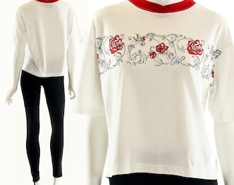 e5af1c43ede 90's Thorny Rose Ringer Tee, Rose T-Shirt, Tattoo Rose Tshirt, Grunge Style  Shirt, 1990's Grunge