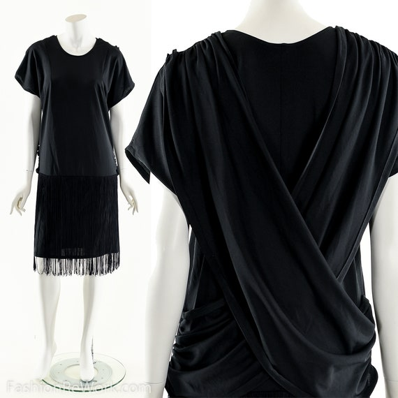 Black Fringe Dress,1920s Dress,20s Inspired Dress,