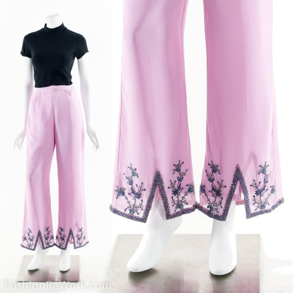 Lavender Pants, Purple Pants, Beaded Pants, High W