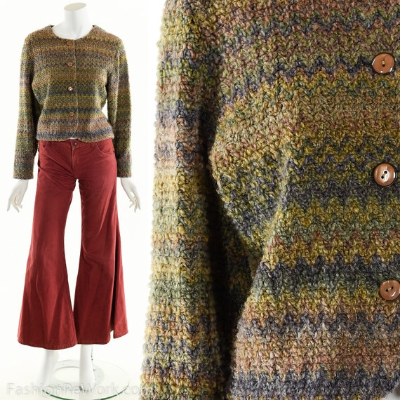 Hand Knit Sweater Jacket, Cropped Sweater Jacket,
