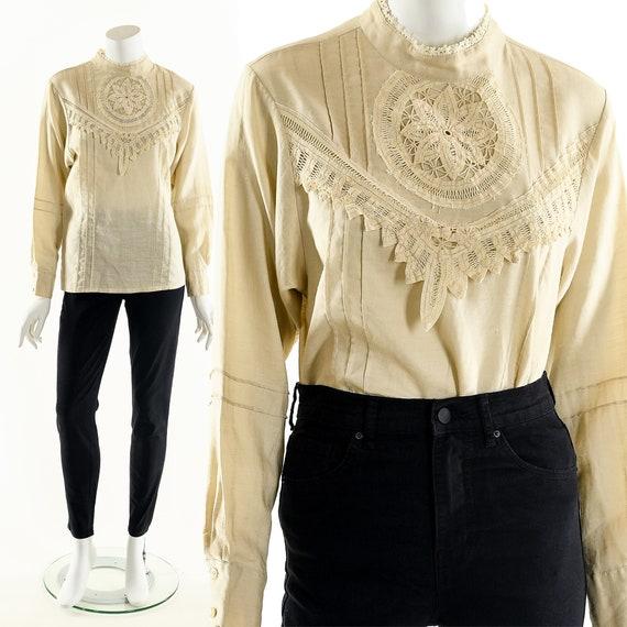 Victorian Linen Blouse,Crochet Daisy Blouse,Croche