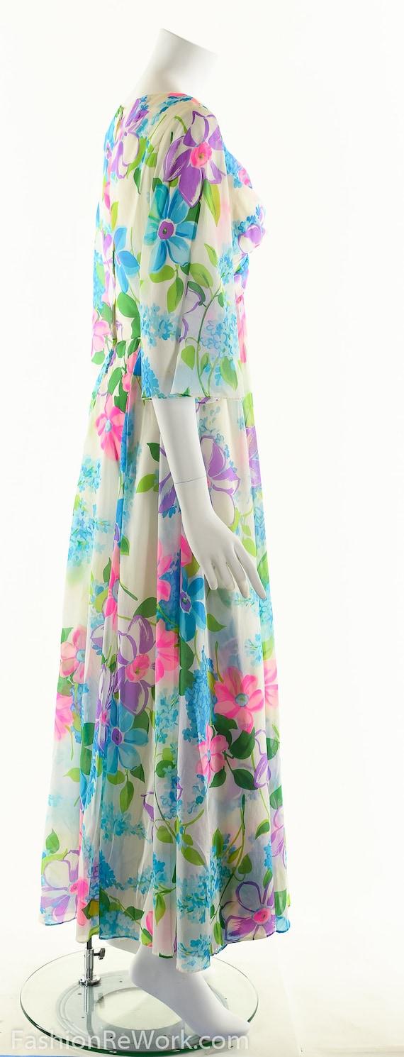 Chiffon Maxi Dress, Dreamy Floral Chiffon Dress, … - image 3