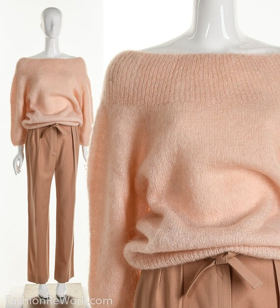 Pink Mohair Sweater, Cold Shoulder Fuzzy Sweater,