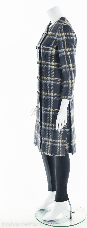 Plaid Wool Coat, Double Breasted Coat, 60's Coat,… - image 7