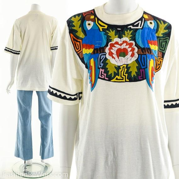 Patchwork T-Shirt, Vintage Patchwork Tee, Tropica… - image 2
