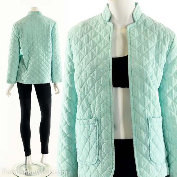 Green Quilted Jacket, Asian Quilted Jacket, Seafoa