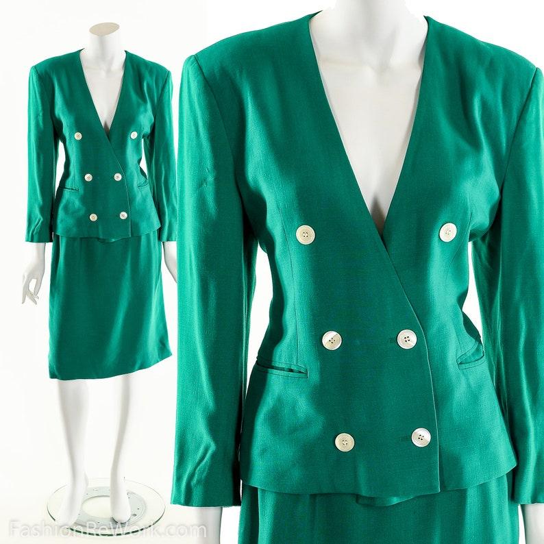 Linen Dress Suit80s Power SuitVintage Green DressTwo Piece image 0