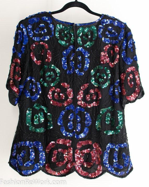 Vintage 70s Silk Sequin Multicolor Roses Blouse Sp