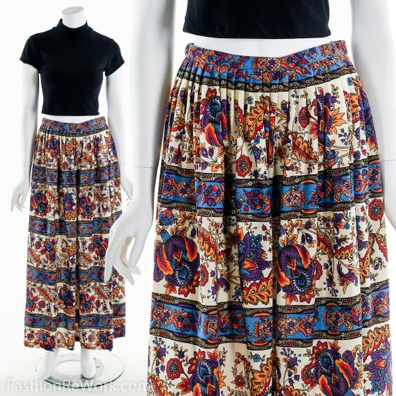 Rainbow Paisley Maxi Skirt,Maxi Skirt,Vintage maxi