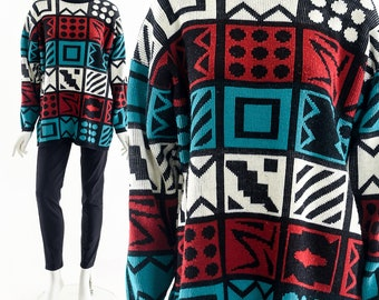 12 Human Emotions Sweater,Graphic Art Sweater,Art Print Oversized Sweater,Knit Tunic Sweater,80s Funky Art Sweater,Long Vintage Knit Shirt