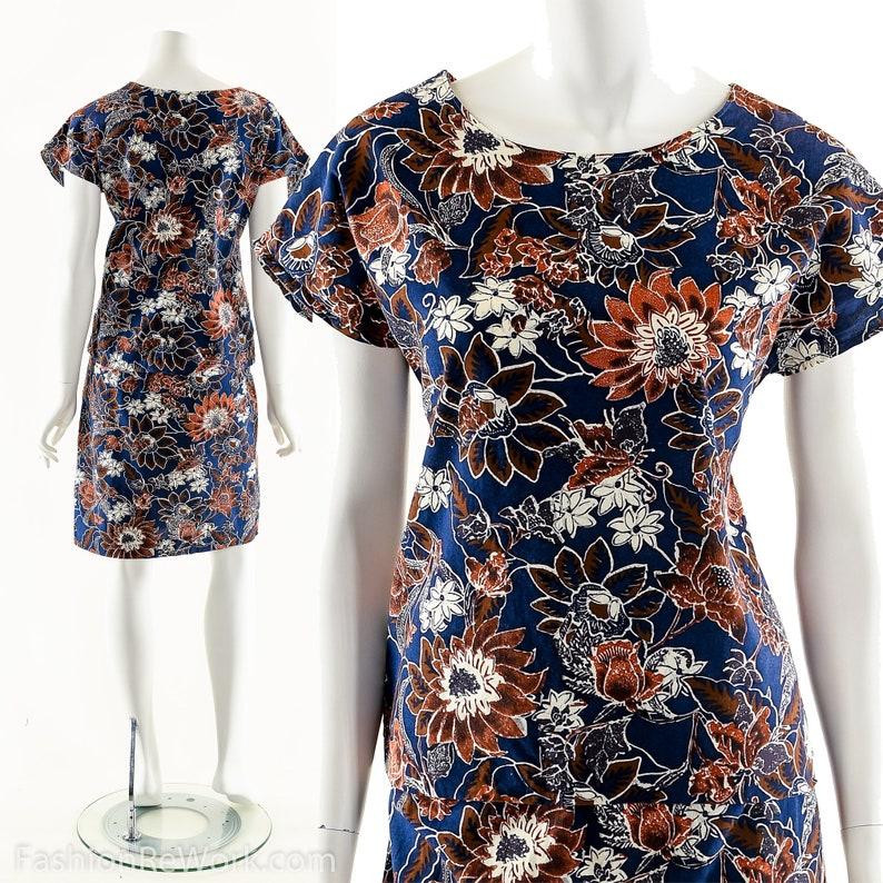 Batik Print Two Piece Dress Vintage Boho Dress Two Piece image 0