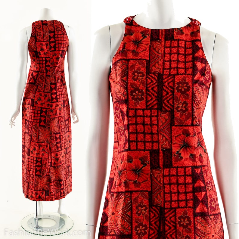 Red Hawaiian DressVintage 60s Tropical DressFitted Tailored image 0