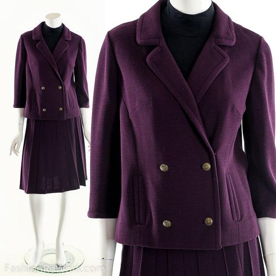 Knit Two Piece Dress,Vintage Aubergine Purple Dres
