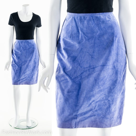 Leather Pencil Skirt, Suede Leather Skirt, Purple