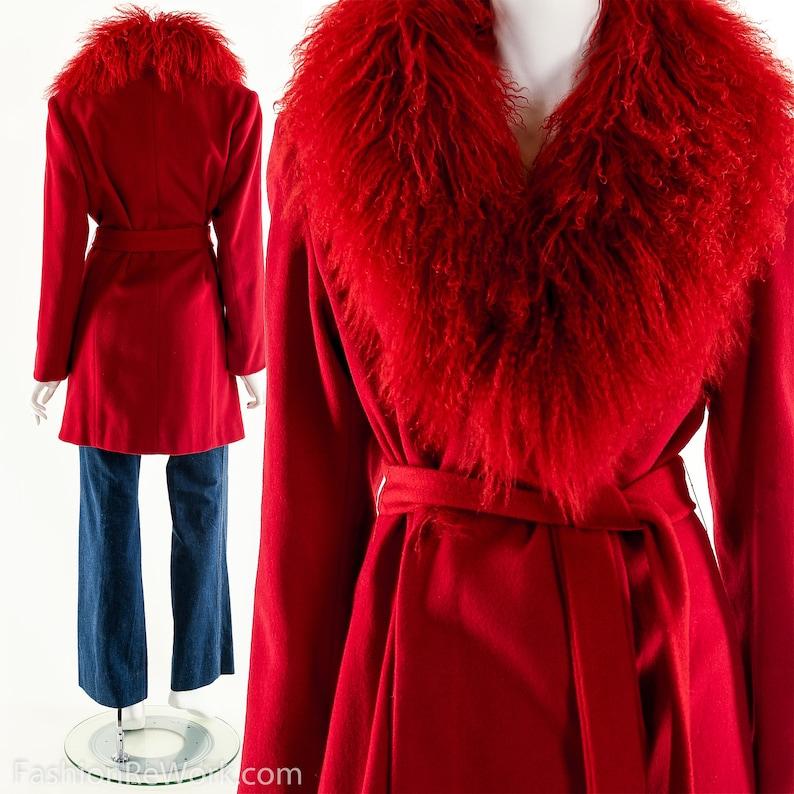 Mongolian Fur CoatMongolian Fur Wool CoatVintage Red Fur image 0