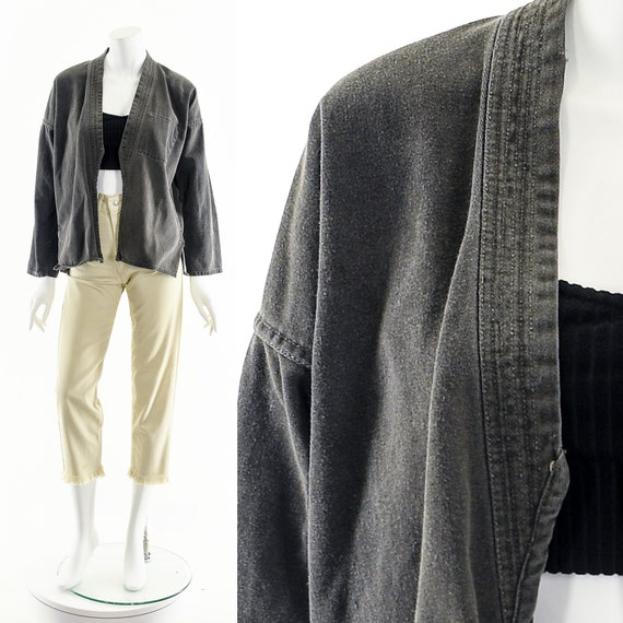 Charcoal Denim Kimono,Light Gray Kimono,Vintage J… - image 3