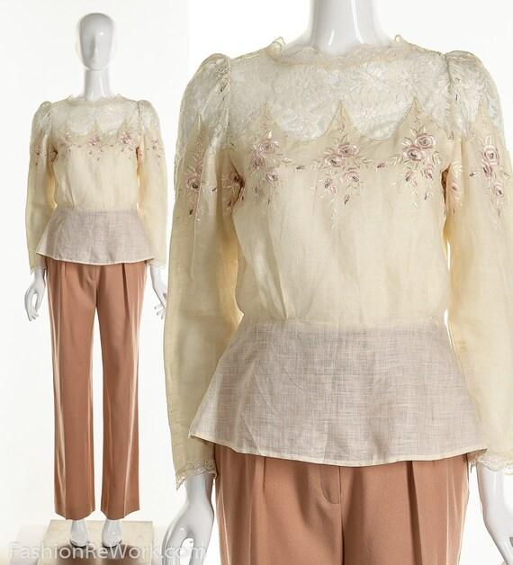 Vintage Victorian Linen and Lace Blouse, Vintage E